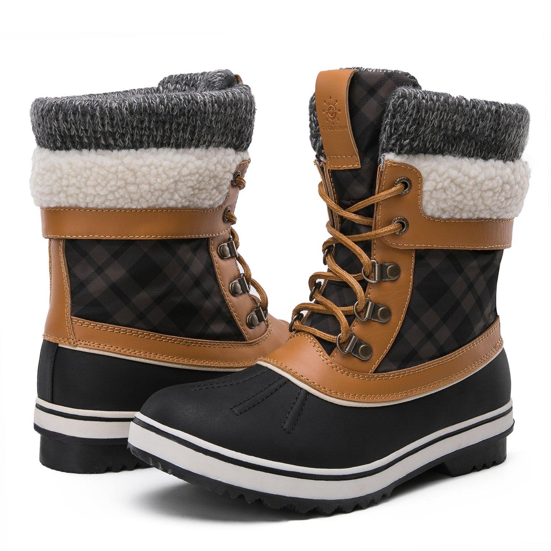 GLOBALWIN Women's Winter Snow Boots (8.5 D(M) US Women's, Black/Camel) by GLOBALWIN
