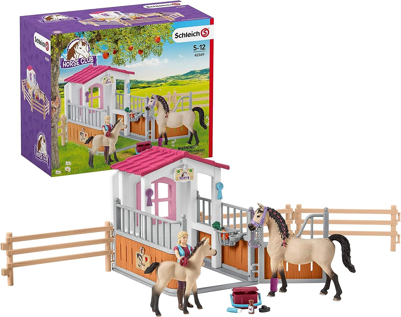Schleich - Box para Caballos árabes y Moza de Cuadra - con Accesorios Desmontables y Abatibles