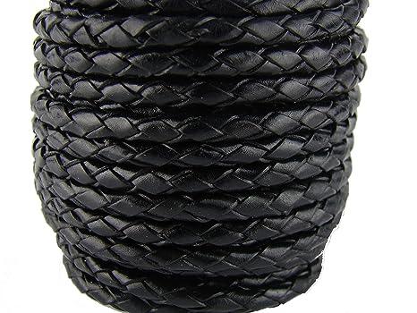 c58bf5b1e730 Cordón de cuero redondo trenzado de 4 mm de diámetro, color negro, longitud  a elegir, piel, Negro , 1 m