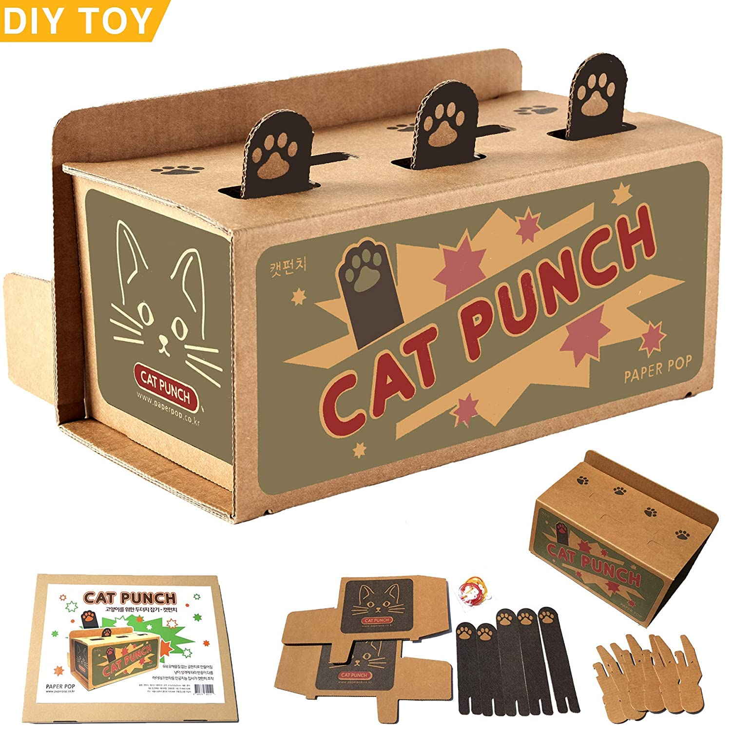 Amazon paperpop CAT Punch Best Interactive mole and mice Game Toy DIY Mouse popup Puzzle for Educational Fat Cats Treat Exercise Toys of Non
