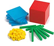 edx Education Four Color Plastic Base Ten Set - Set of 121 - Early Math Manipulative for Kids - Teach Number Concepts, Place