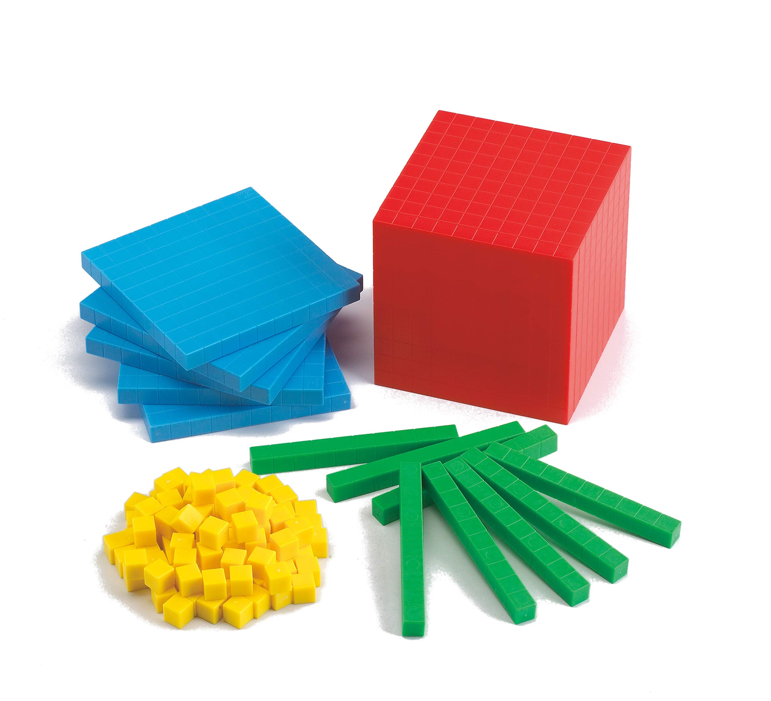 edx Education Four Color Plastic Base Ten Set - Set of 121 - Early Math Manipulative for Kids - Teach Number Concepts, Place Value and Volume by edxeducation