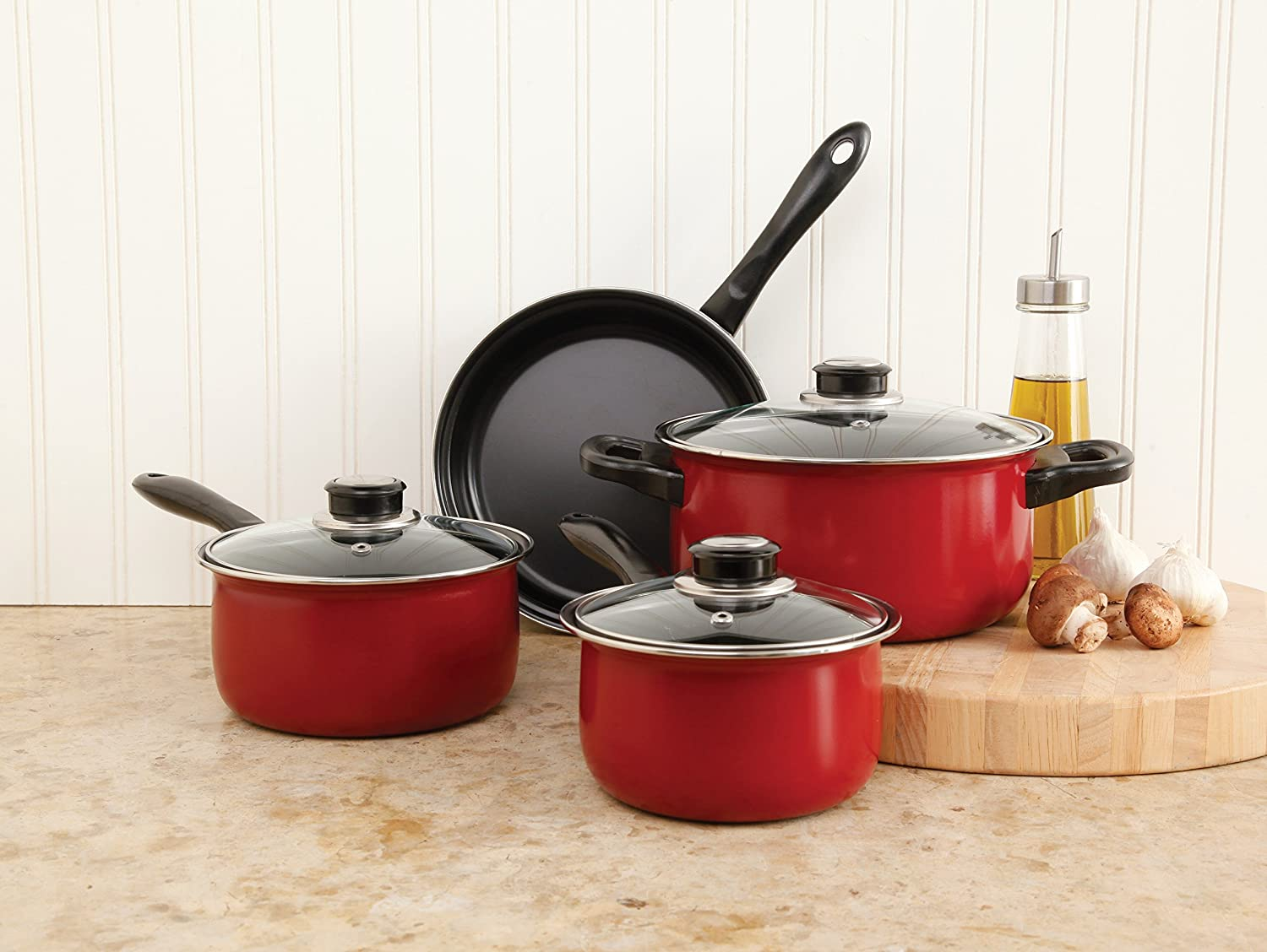 Sunbeam 72253.07 Newbrook 7-Piece Cookware Set, Black Gibson Overseas Inc.