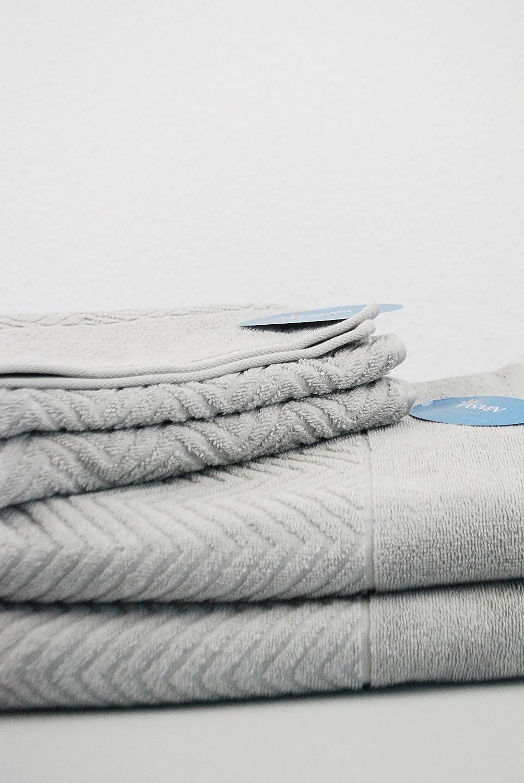 YASMN   4er Set (50x100cm) Jacquard Frottee Handtuch   Serie Zacken – Farbe  Petrol - 100% Baumwolle – 550g m² B07C2TWXTL Handtücher