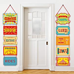 Blulu Carnival Decorations, Laminated Circus Carnival Signs Circus Theme Party Signs Carnival Party Supply Decor Paper Cutouts with 2 Ribbons and Glue Point Dots (Style B)