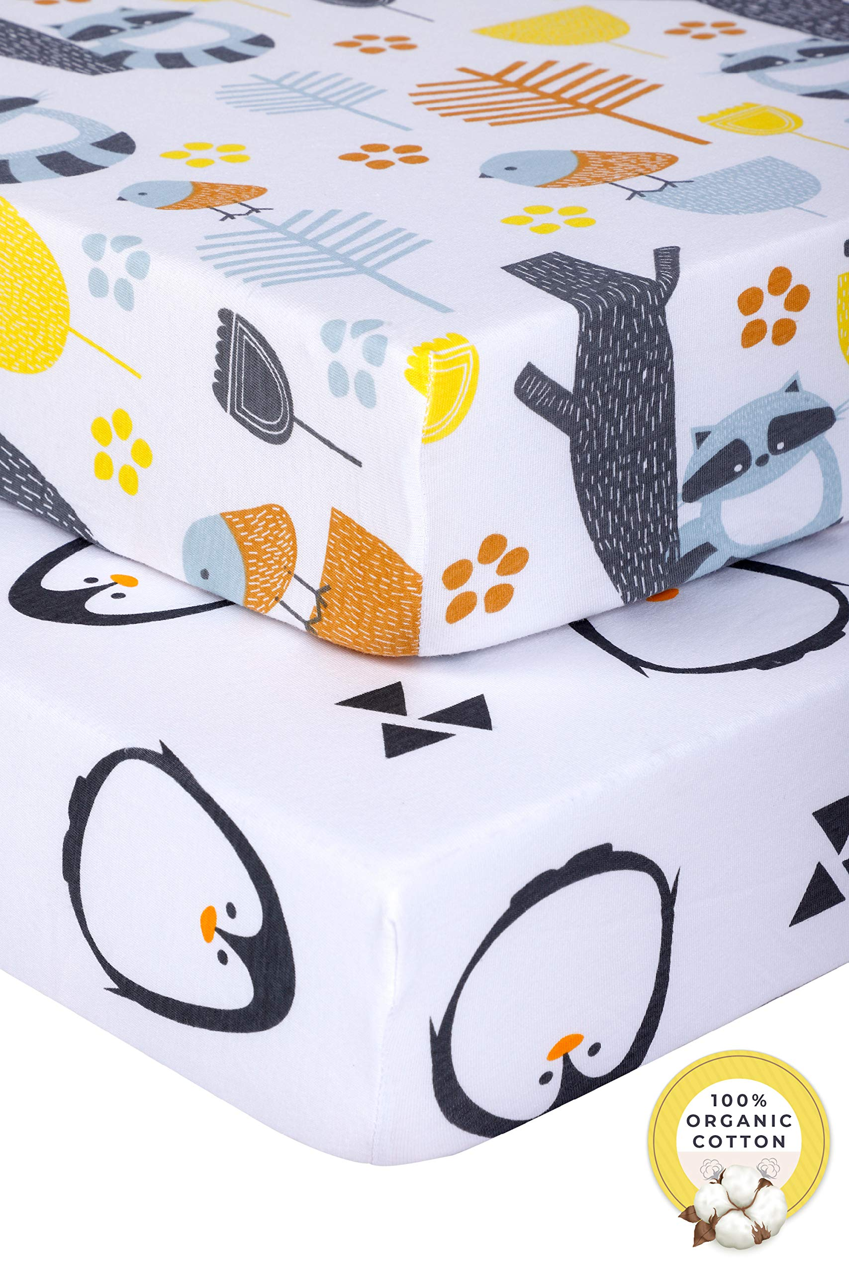 Pickle & Pumpkin Fitted Crib Sheets (2 Pack)|100% Organic Jersey Cotton | Toddler mattress or Standard crib mattress sheets | Toddler Bedding Sheet Set for Girls & Boys | Penguin & Woodland Crib Sheet by Pickle & Pumpkin
