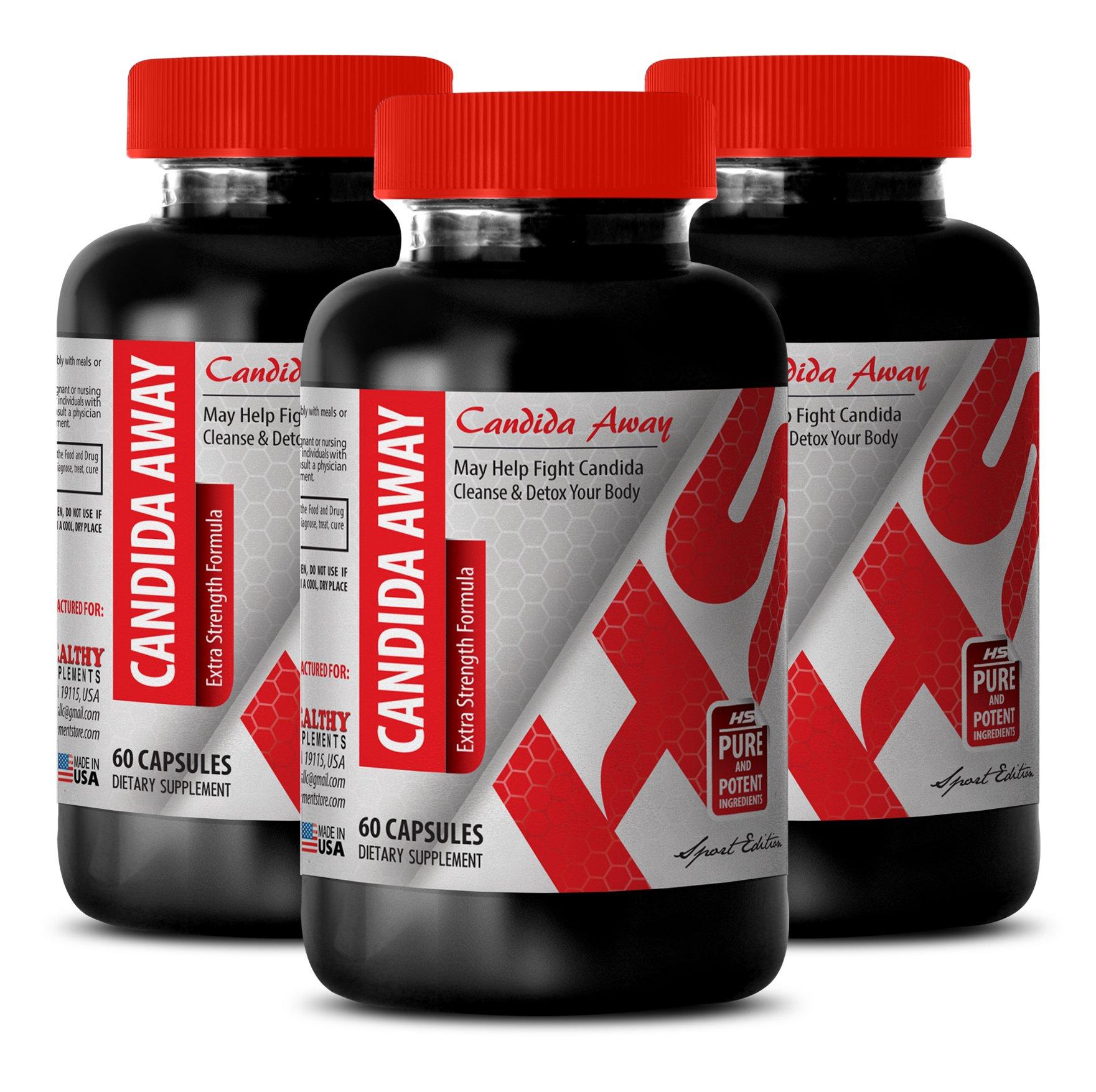 Wormwood black walnut capsules - CANDIDA AWAY COMPLEX 1175 MG - promote endurance (3 Bottles)
