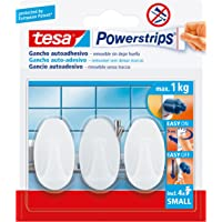 Tesa TE57533-00017-02 pequeños Ovalados Blancos, 3 Ganchos