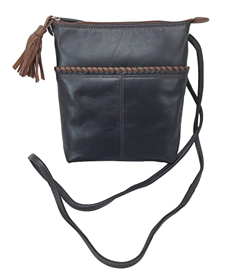 852ff0e88ea7 Amazon.com: Whipstitched Leather Cross-body Handbag (Black/Toffee ...