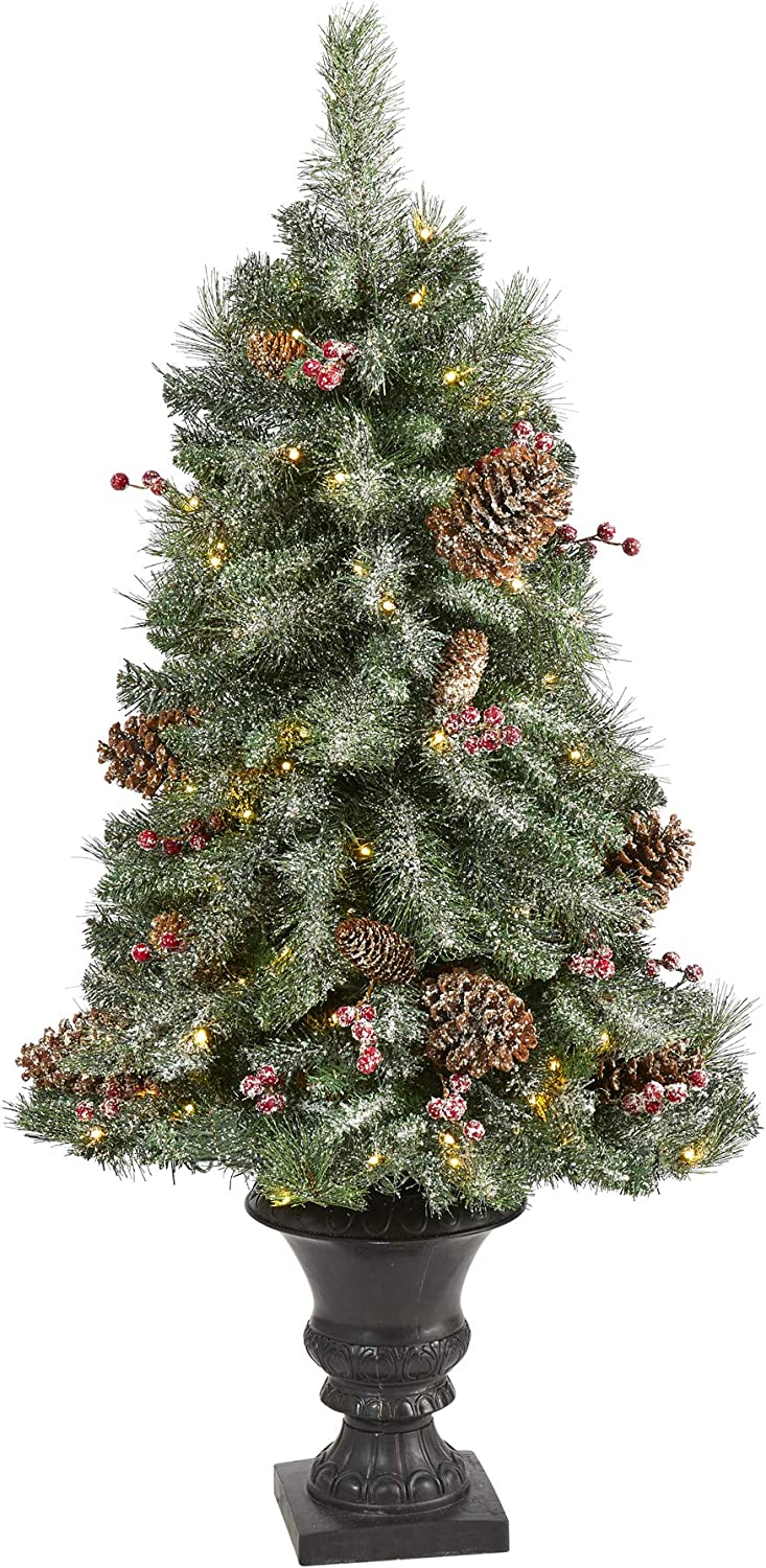 Nearly Natural 4ft. Frosted Pine, Pinecone and Berries Artificial Christmas Tree with 100 Clear LED Lights in Decorative Urn, Green