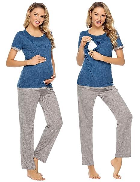 153a4d9db Aibrou Pijama Premamá Lactancia Algodon Casual Embarazo Ropa Maternidad  para Mujer  Amazon.es  Ropa y accesorios