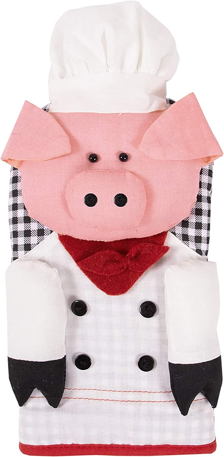 "Ritz Kitchen Friends Novelty Cotton Oven Mitt, Decorative Item Only, Great Gift, 6"" x 11"", Chef Pig, Single Unit"