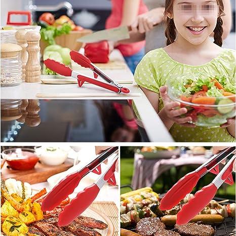 Compra Pinzas de cocina, Chycet Multiusos y Acero Inoxidable Con Soporte Pinzas para Comida Un Par de 9 y 12 Pulgadas Con un Cepillo, Perfecto para Cocina, ...