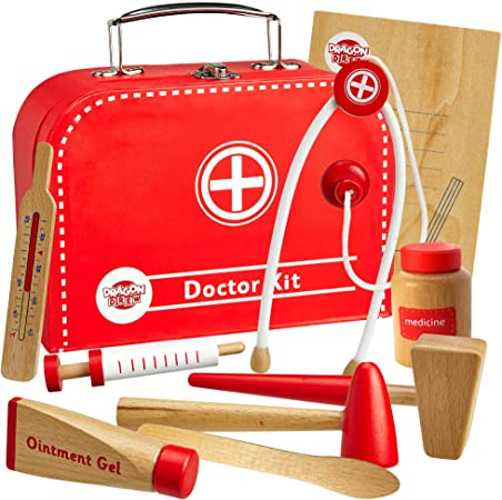 Dragon Drew Wooden Doctor Kit For Kids Pretend Doctor Kit For Kids Medical Kit For Toddler Pretend And Play Tools 10 Pc Set