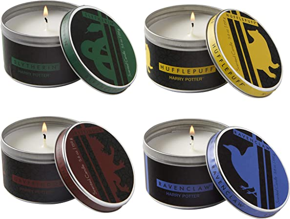 Harry Potter Hogwarts Houses Tin Candles, Set of 4 - Large 5.6 oz Each - Gryffindor, Slytherin, Ravenclaw, Hufflepuff - Scented