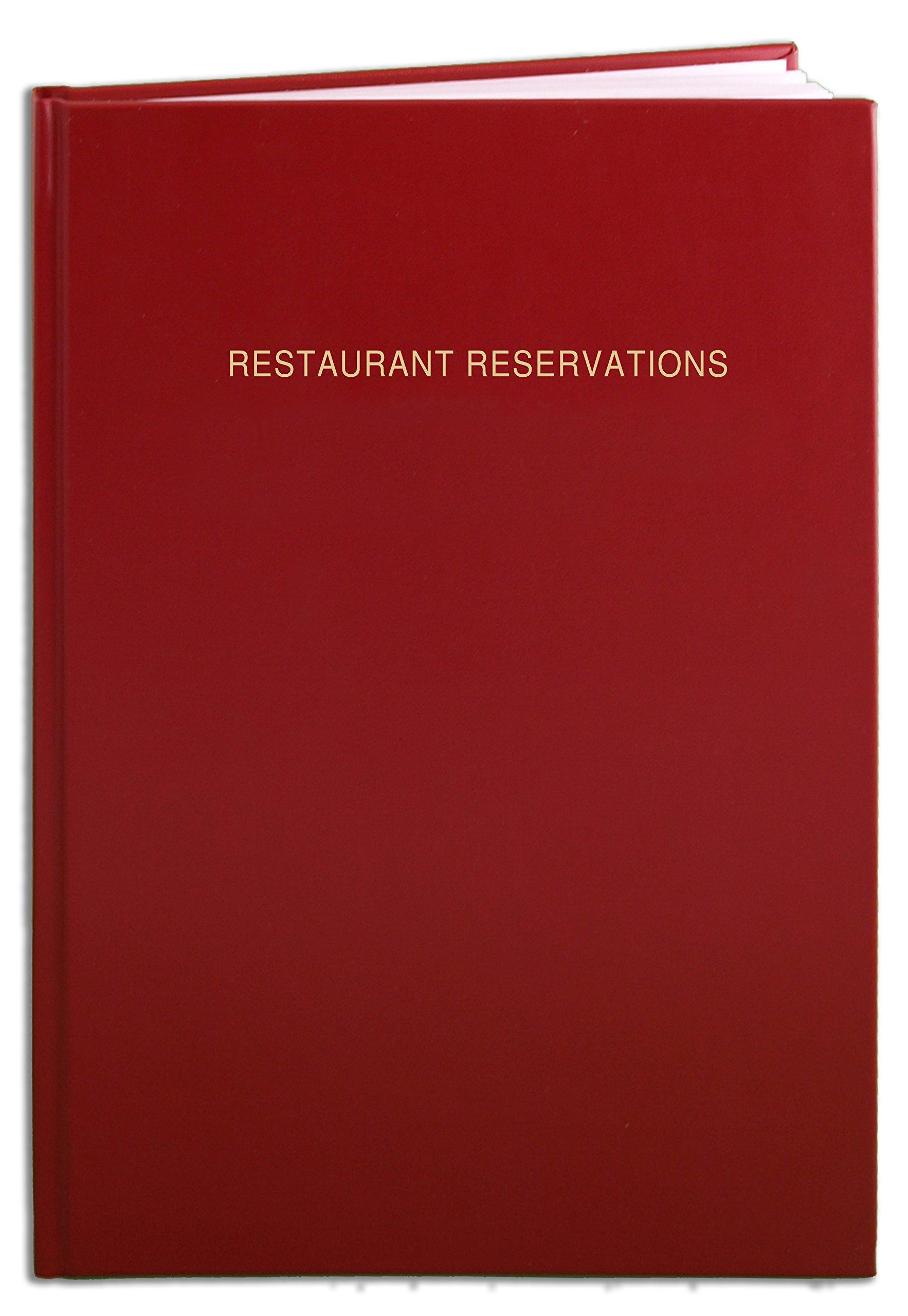 BookFactory Restaurant Reservations Book, 365 Day Table Reservations, Dinner Reservations Book, 408 Pages, 8 7/8'' x 13 1/2'', Red Imitation Leather, Smyth Sewn Hardbound (LOG-408-OCS-A (RESTAURANT))