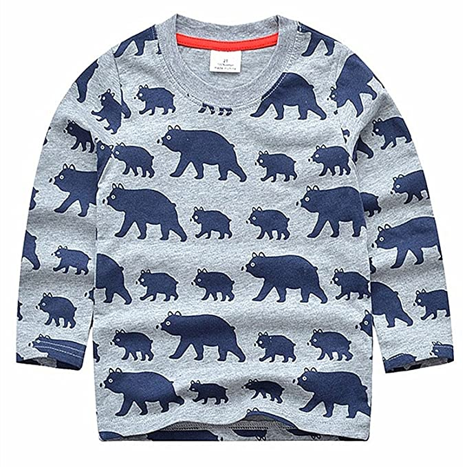 0e9a3224a 2Bunnies Boys Toddler Grizzly Bear Print Graphic Long Sleeve T-Shirt Tee  (3T,