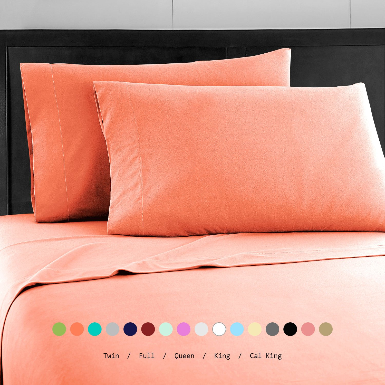 Prime Bedding ベッドシーツセット マイクロファイバー 2000 寝具4枚セット California King ピンク B06Y61T4K3 California King|コーラル コーラル California King