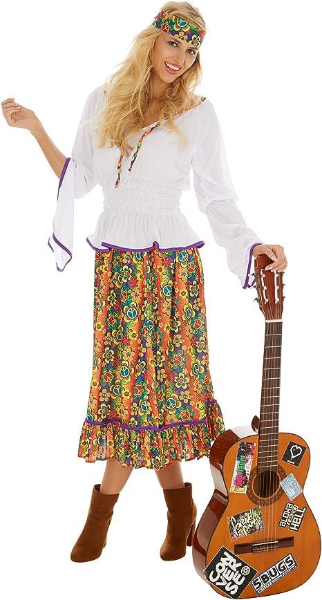 dressforfun Disfraz de Hippie Lady Love & Peace para Mujer | Falda ...