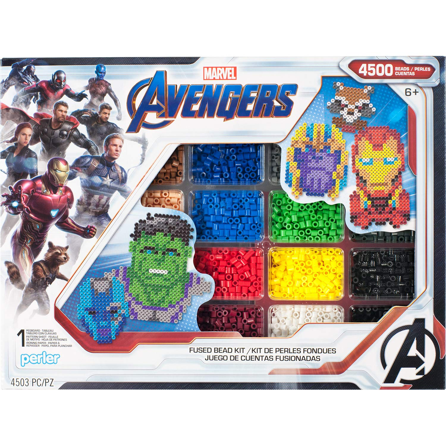 Perler PER8054346 Marvel Avengers Fuse Bead Kit, 4503pc, 10 Patterns, Multicolor by Perler