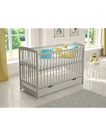 Grey Wooden Baby Cot with Drawer 120x60cm + Foam Mattress + Safety Wooden Barrier + Teething Rails