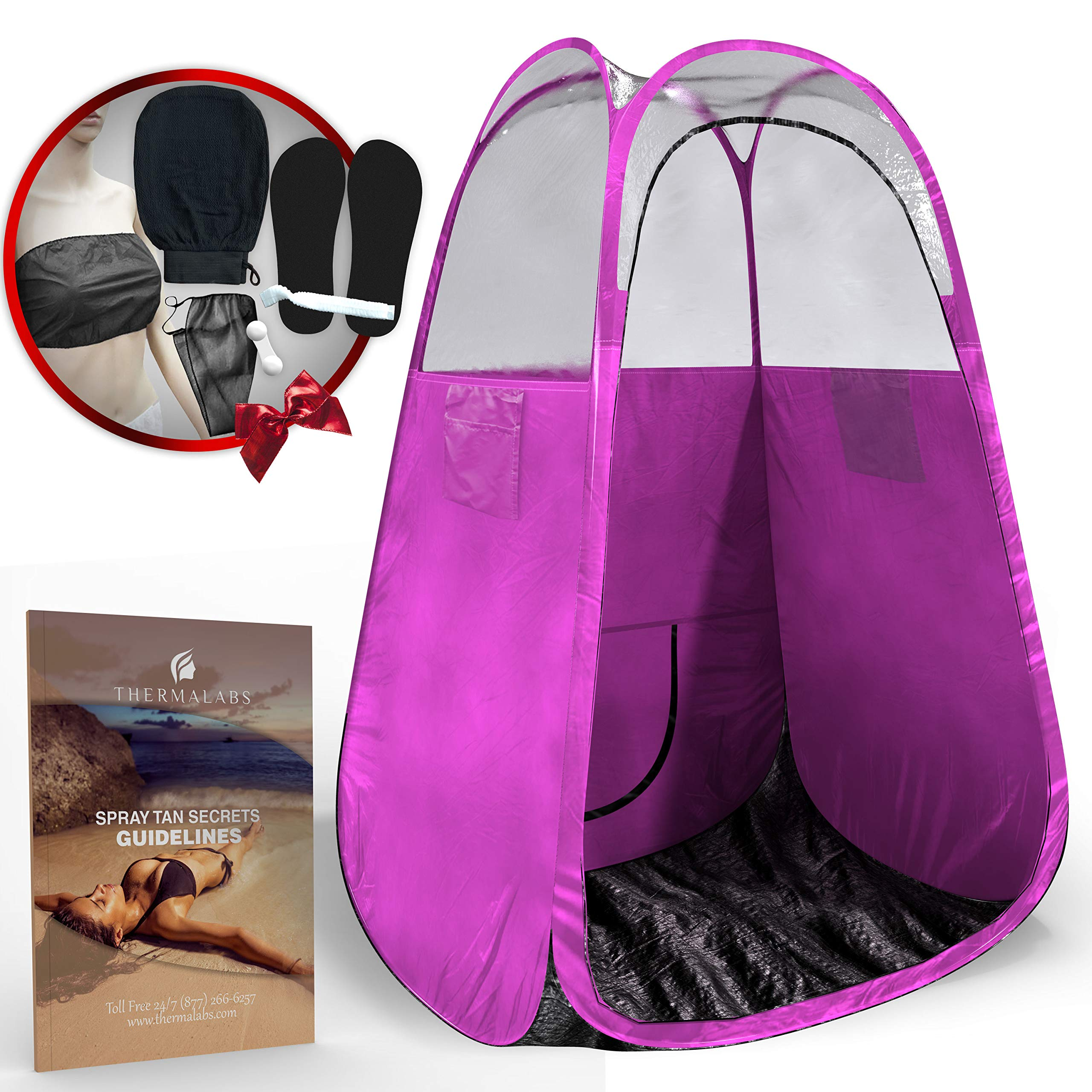 Spray Tan Tent (Pink) The Best, Bigger Than Others, Folds Easily in 30 Seconds and Has NO Logo On Tent Itself! Professional Sunless Tanning Pop-Up Spraying Booth for Airbrush Art, Makeup & Painting by Thermalabs