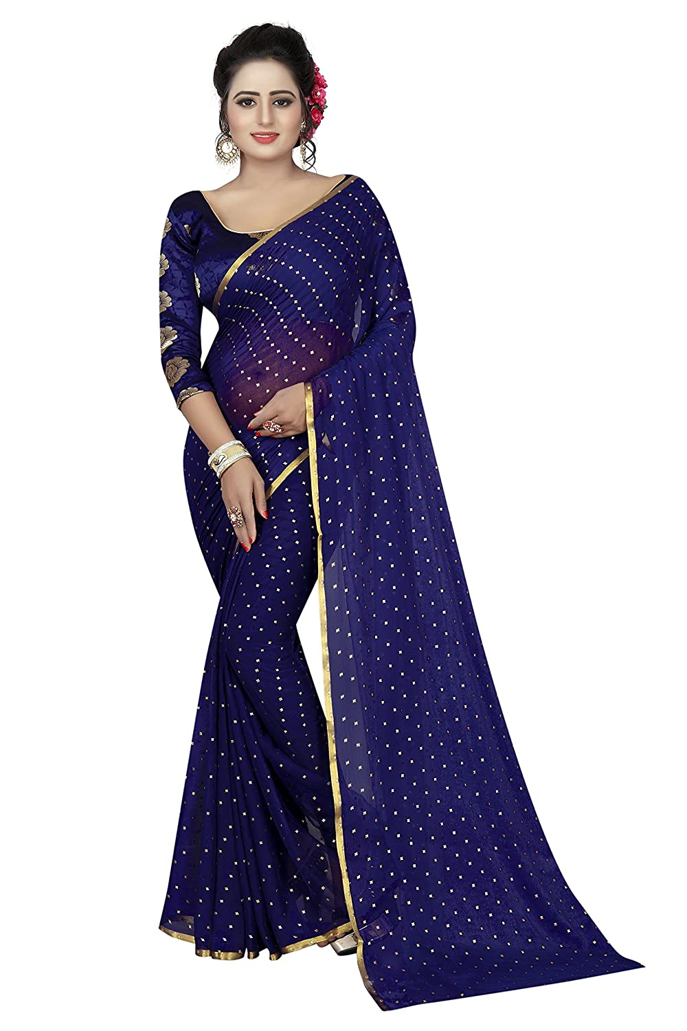 PerfectBlue Chiffon Saree with Blouse Piece