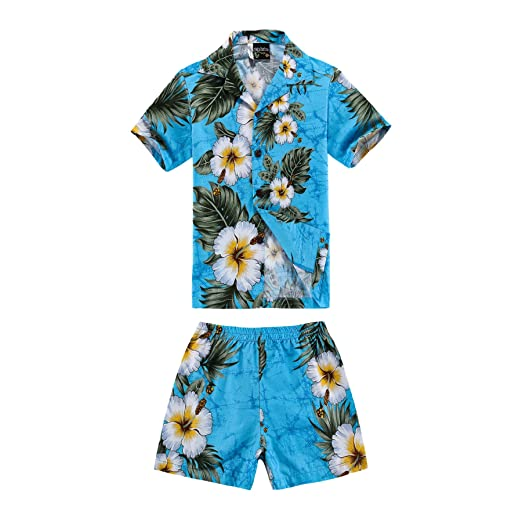 fe775fa3 Boy Hawaiian Shirt and Shorts 2 Piece Cabana Set in Turquoise with Panel  Floral 2 Year