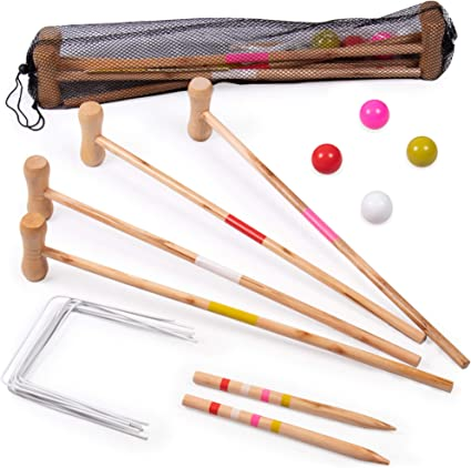 Classic Outdoor Lawn Game for Children BBQs Great for Birthday Parties and More Wickets Kids Croquet Set for 4-Players Comes with Mallets Balls Picnics and a Carrying Bag for Portability