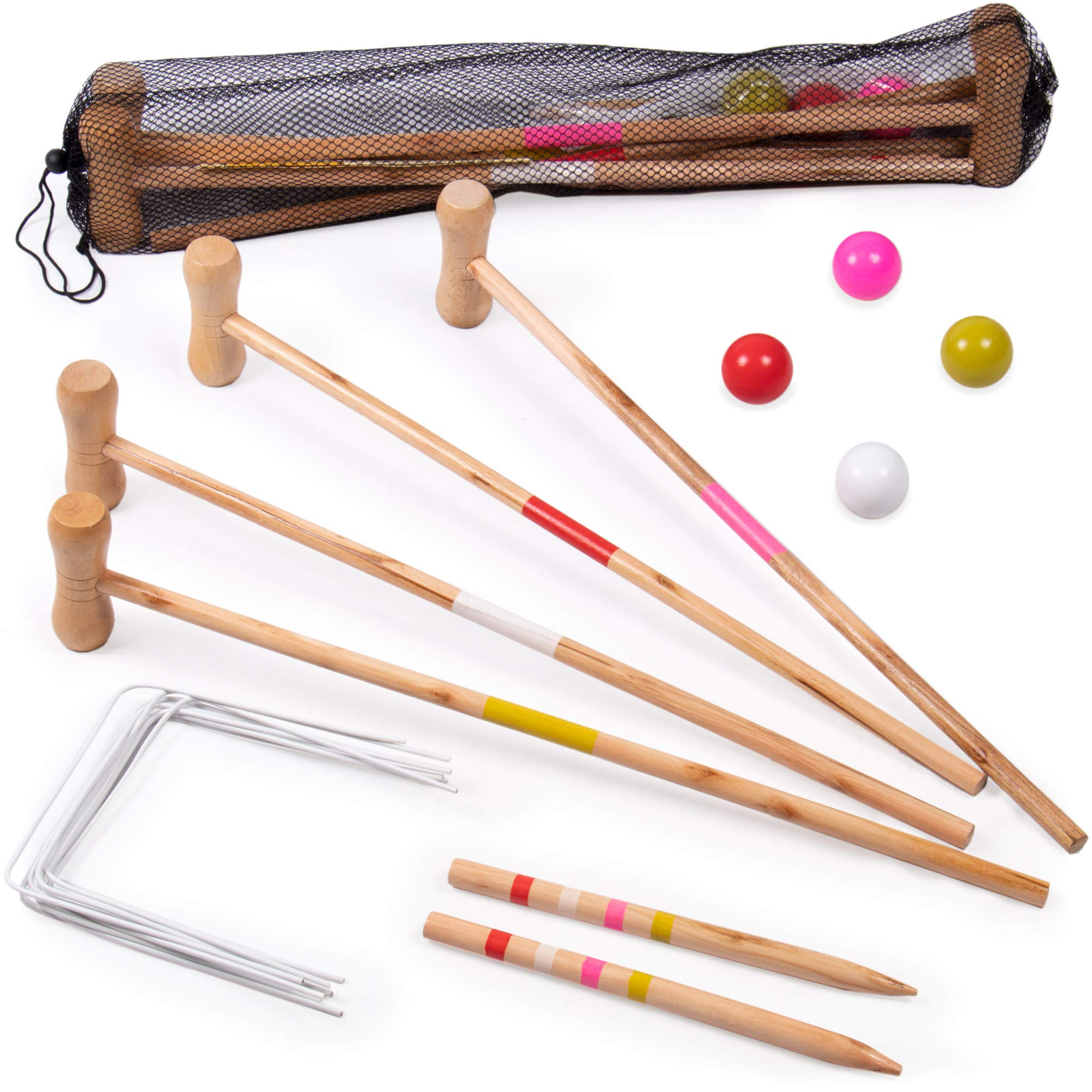 Kids Croquet Set for 4-Players | Classic Outdoor Lawn Game for Children | Great for Birthday Parties, Picnics, BBQs, and More | Comes with Mallets, Balls, Wickets, and a Carrying Bag for Portability by Crown Sporting Goods (Image #1)
