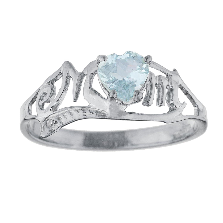 1 Ct Genuine Aquamarine /& Diamond Ring .925 Sterling Silver