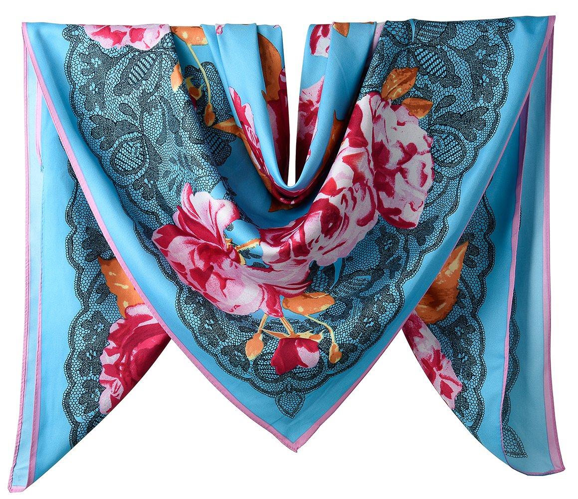 Corciova ACCESSORY レディース B077WPQ96P Lace Floral Pattern Amaranth and Maya Blue Lace Floral Pattern Amaranth and Maya Blue