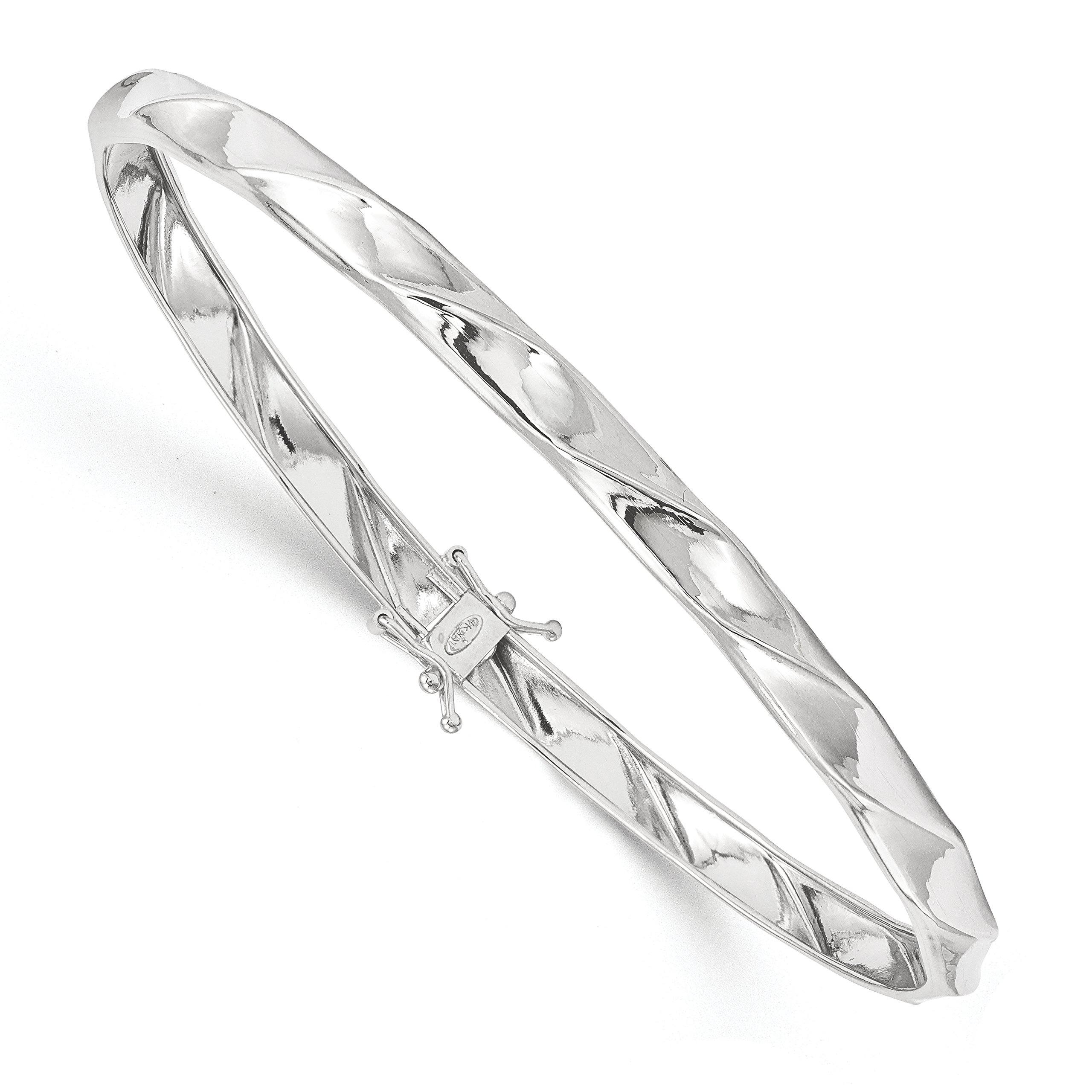 ICE CARATS 14k White Gold Twisted Bangle Bracelet Cuff Expandable Stackable Slip On Fine Jewelry Gift Set For Women Heart