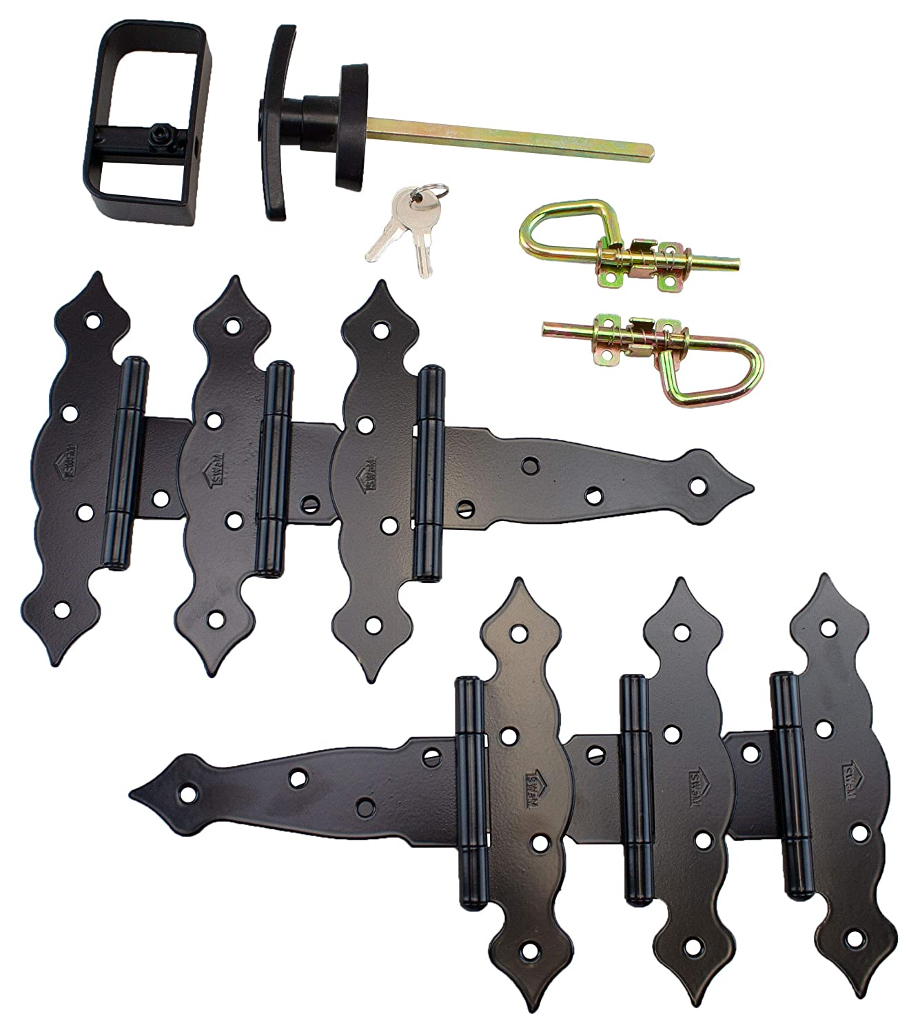 T Hinges 6 Fancy Decorative Hinges Loop Barrel Bolts Shed Door Hardware Kit T Handle