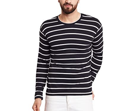 5b02fd9b Hypernation Black and White Stripe Round Neck Cotton T-Shirt for Men - S