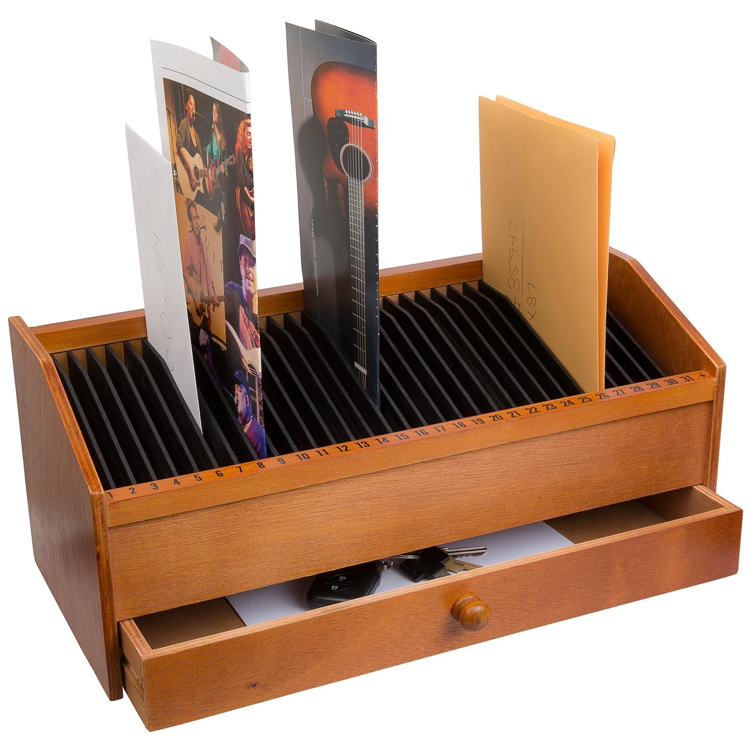 31 SLOT WOODEN BILL/LETTER ORGANIZER WITH DRAWER