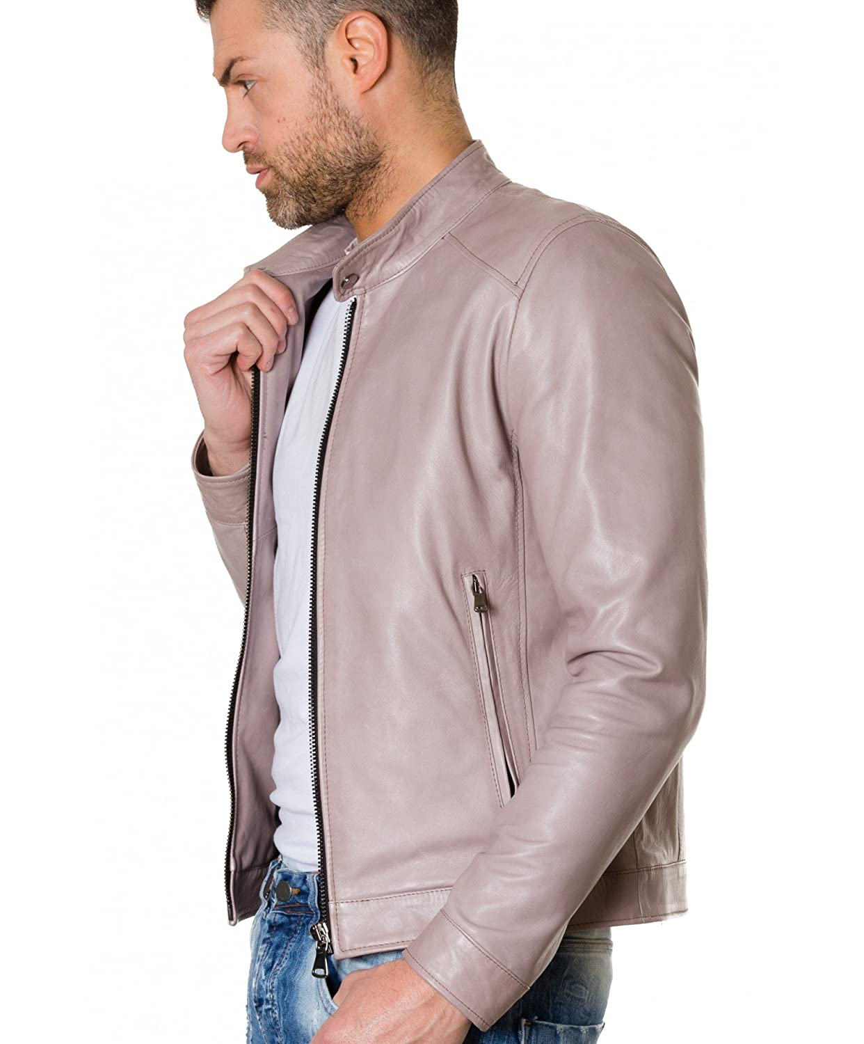 TED couleur grise blouson cuir homme style motard col mao