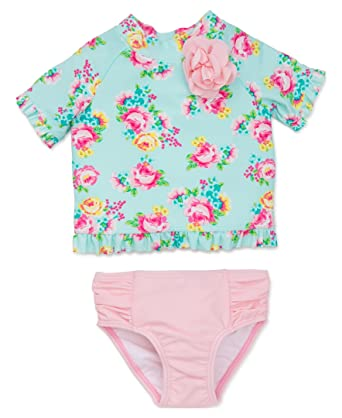 2dd4f86f1 Little Me Toddler Girls' 2 Piece Short Sleeve Rashguard Set, Floral Rose,  ...