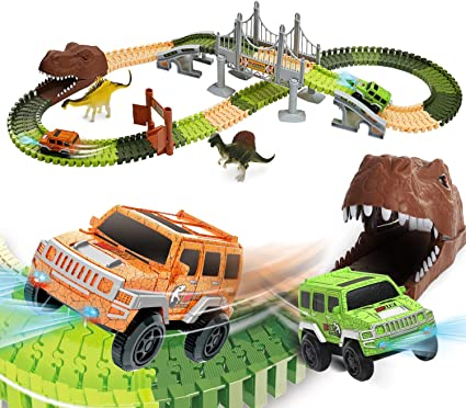 Amazon Com Eaglestone Dinosaur Toys Race Track Set 194 Pcs For Kids Flexible Train Tracks With 2 Dinosaurs Figures 1 Bridge 2 Electric Cars Vehicle Playset With Led Lights Best Gift For Toddlers Boys And Girls
