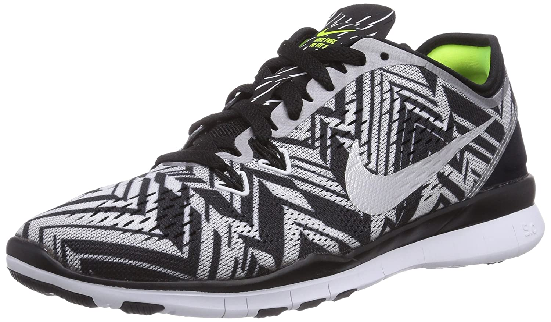 Nike Women s Free 5.0 TR Fit 5 PRT Black Mtllc Silver White VLT Running Shoe 8.5 Women US