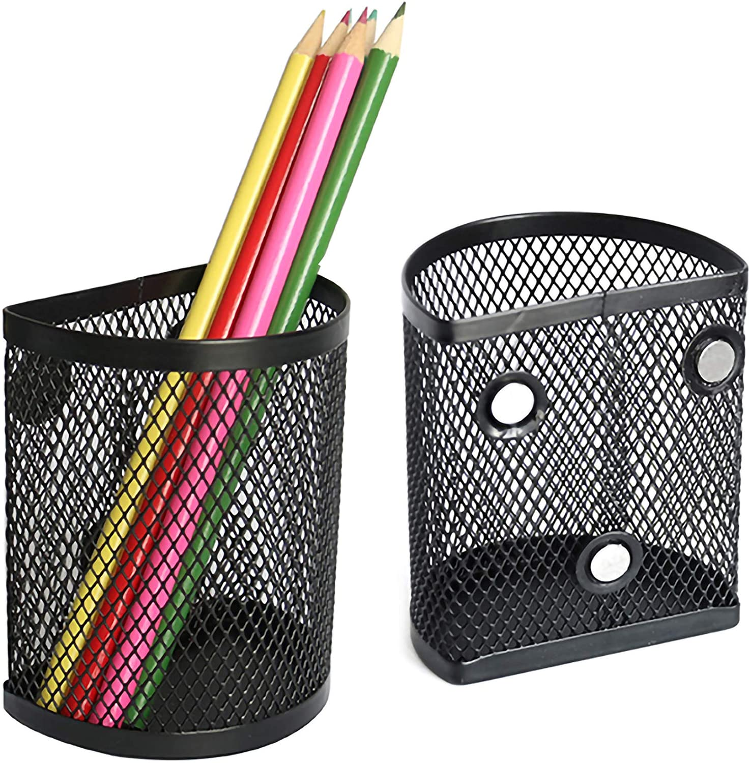 LUCYCAZ Magnetic Pencil Holder Semicircle Metal Basket Strong Magnets Locker Organizer for Refrigerator Whiteboard and School Office 2 PCS