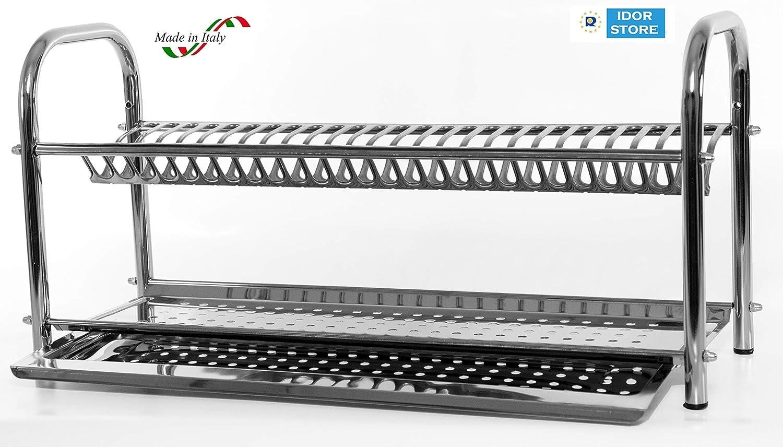 Escurreplatos de acero inoxidable con soporte, 60 cm, fabricado en Italia