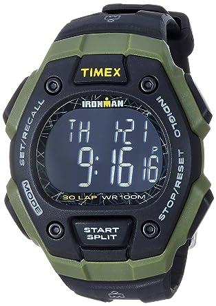 2c05e2d00 Timex Men's TW5M24200 Ironman Classic 30 Black/Green/Negative Resin Strap  Watch