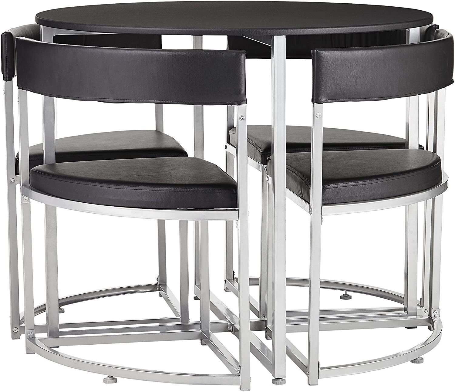 Tesco Space Saver 4 Seat Round Dining Table & Chair Set - Black A ...