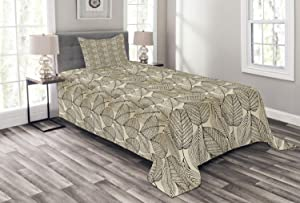 Ambesonne Beige Bedspread, Autumn Geometric Leaf Pattern Ornamental Foliage Design Abstract Line Arrangement, Decorative Quilted 2 Piece Coverlet Set with Pillow Sham, Twin Size, Beige Black