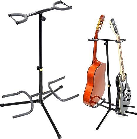 ts-ideen - Soporte doble para guitarra (acústica, eléctrica o bajo ...