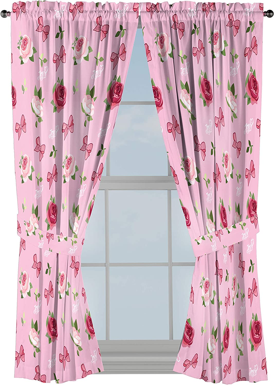 """Nickelodeon JoJo Siwa Roses & Bows 63"""" inch Drapes 4 Piece Set - Beautiful Room Décor & Easy Set up - Window Curtains Include 2 Panels & 2 Tiebacks (Official Nickelodeon Product)"""