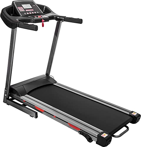 Electric Folding Treadmill with Wide Running Belt, Large LCD Panel and 9 Built-in Programs Black