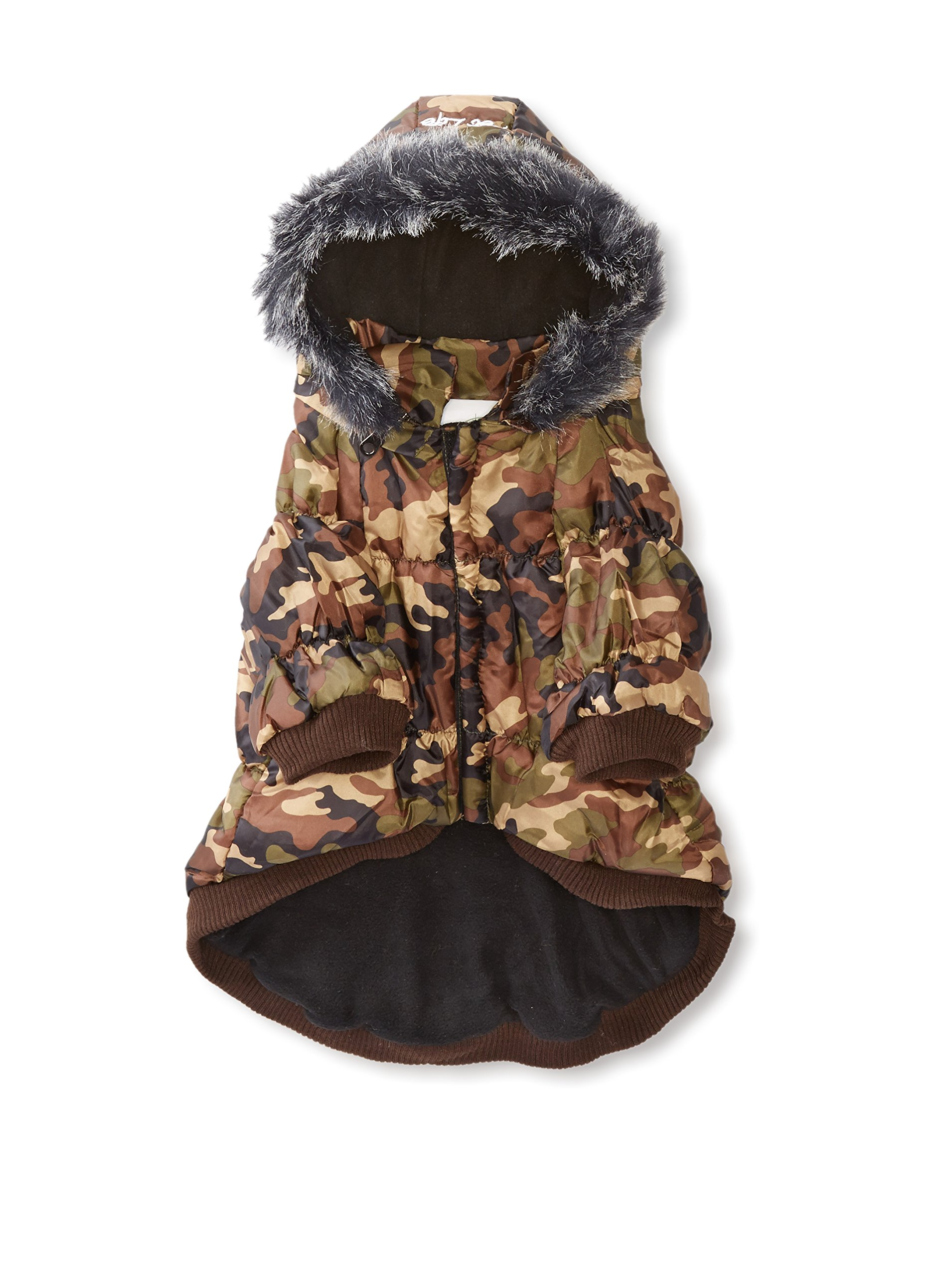 Pet Life Metallic Fashion Dog Parka With Removable Hood Camo Metallic (Medium)