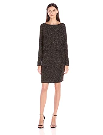 Jessica Howard Womens Long Ruched Sleeve Blouson Dress Blackgold